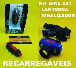 Kit de Iluminação Bike ( Recarregavel ) Lanterna + Sinalizador
