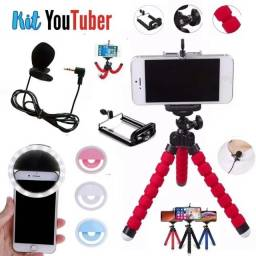 KIT Youtuber / Blogueira - Microfone de Lapela + Tripé Flexível + Ring Ligth para Celular
