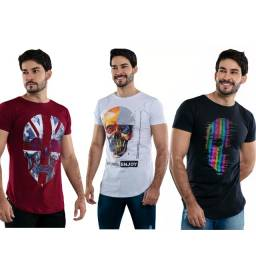 Kit 3 Camisas Masculina T-shirt Estampada Para Revenda