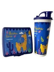 Título do anúncio: Kit Tupperware Lhama - porta sanduíche + copo bico 470 ml