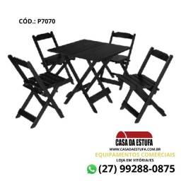 Conjunto Bar 70 x 70 - Mesa e 4 Cadeiras da Maplan - Cor Preta