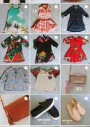 Para meninas roupas e calçados