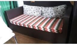 Lindo sofá ratan sintético com almofadas acquablock proteção uv