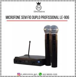 Título do anúncio: Microfone Sem Fio Duplo Uhf Wireless Le-906