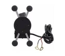 Suporte Garra Celular Para Motos Universal Carregador USB - 8082
