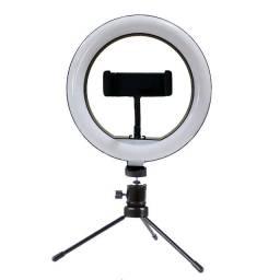 ring light 20cm/8 polegadas+tripé de mesa+suporte de celular