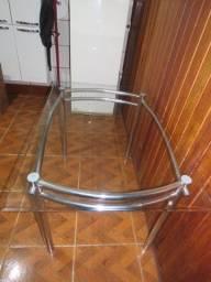 Mesa de jantar tampo de vidro 4 lugares