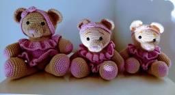 Trio de urso amigurumi