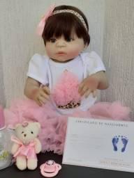 Bebê Reborn Bzdoll Toda em Silicone, Menina  57 cm  Disponível Grátis Smartwatch