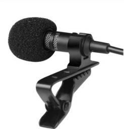 Microfone Estéreo Portátil de Lapela Conexão 3.5mm para Celulares ou Computadores