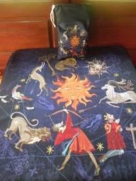 Toalha Esoterica Tarot Astrologia Medieval Sol Animais 70x70cm