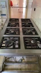 Fogão Inox Industrial 8 Bocas