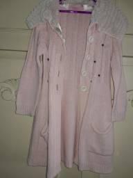 Casaco de lã rosa infantil marcas pituchinhus t06