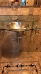 Pia/cuba com suporte de vidro- super feminino-para banheiro ou lavabo