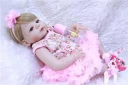 Boneca Bebê Reborn 100% Silicone olhos azuis Igual a foto