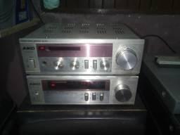 Reciver e rádio Aiko vintage