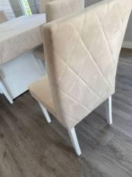 Jogo de cadeiras tecido suede bege