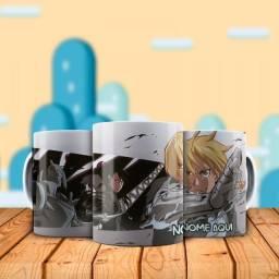 Anime Fullmestal Alchemist Caneca personalizada com nome para presentear