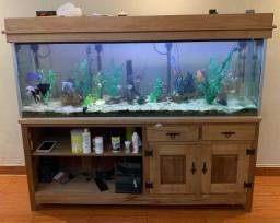 Aquario com movel em madeira de lei 430 litros