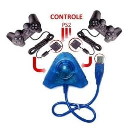 Adaptador Conversor Usb Pc Duplo P/ Controle Playstation 2