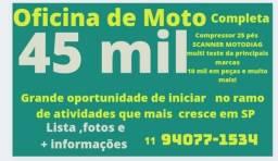 Oficina de Moto 45 mil. Abra o seu próprio negócio!