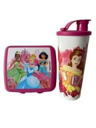 Kit Tupperware Princesas - porta sanduíche quadrado + copo bico 470 ml