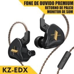KZ Edx c/ Microfone Fone de Ouvido Profissional Gamer DJ Retorno de Palco