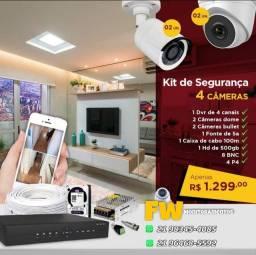 KIT Monitoramento 4 cameras ACESSO PELO CELULAR ANDROID OU IOS