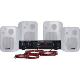 Kit Som Ambiente 400w Bluetooth Ambience 4000 Branco Hayonik