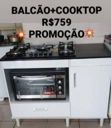 BALCÃO+COOKTOP 5 BOCAS NA PROMOÇÃO