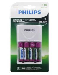 Carregador de pilhas Philips com 4 pilhas AA / 2450 mAh - (SCB-2445NB/97)