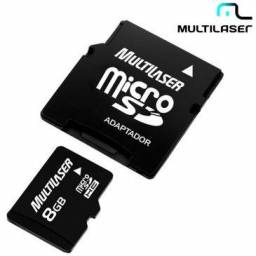 Cartao de Memoria Micro SD 8 GB + Adaptador NOVO com nota passo cartao