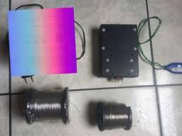1 fontes estabilizada 12v 3.5 Amperes + 2 rolo de 300 mts de fio inox 0,70mm<br>