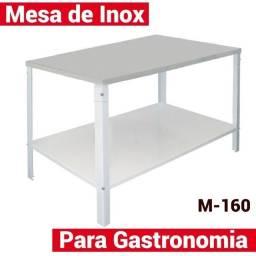 Mesa inóx com prateleira 1.60mts