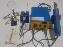 Estação de solda c/ ferro e ferramentas bom