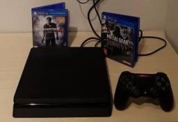 Playstation 4 Slim 500gb com 1 controle + 3 Jogos
