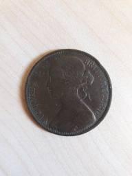 Inglaterra One Penny -  Ano 1862
