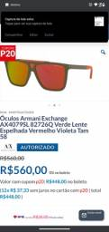 Óculos Armani exchange AX4079SL-82726Q preto fosco com lentes espelhadas prata