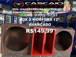 """caixa caicha box caixote gabinete falante 2 woofers 12 12"""" woofer avançado R$150 vermelho"""