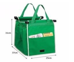 Título do anúncio: Conjunto bolsas Dobrável reutilizável p/ carrinho de compras 2 unidades Grab Bag