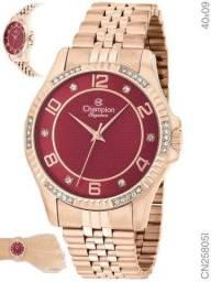 Relogio Feminino Champion Rosê CN25805I fundo vinho