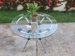 Mesa de vidro redonda em alumínio