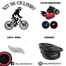 Kit Ciclismo  Cadeado + Led para Roda + luz traseira e lanterna de segurança (entregamos)