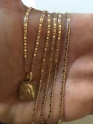 Colar de ouro 18k modelo piastrine 62cm