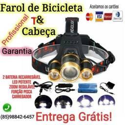 Farol de Bike + lanterna de Cabeça + 2 Bateria recarregável + Garantia + Entrega Grátis!