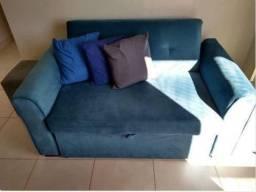 Sofá cama de casal em veludo, praticamente novo, impecável