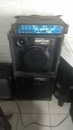 Amplificador machine a500 e 2 caixas