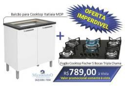 Fogão Cooktop Fischer 5 Bocas + Balcão para cooktop Bl150 Mdp