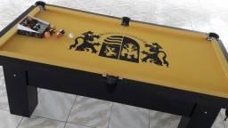Mesa de Sinuca e Bilhar Mod5678 Tecido Amarelo