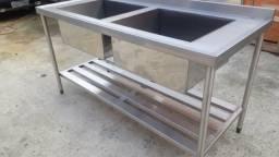 Pia em inox 180x70x90 com 2 cubas 60x50x34 direto da fabrica